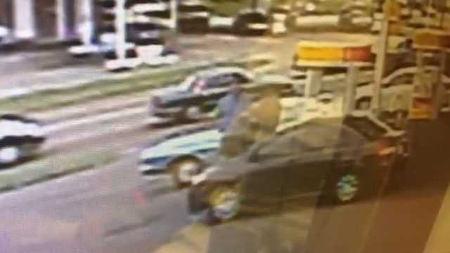 The carjacking was caught on surveillance video.