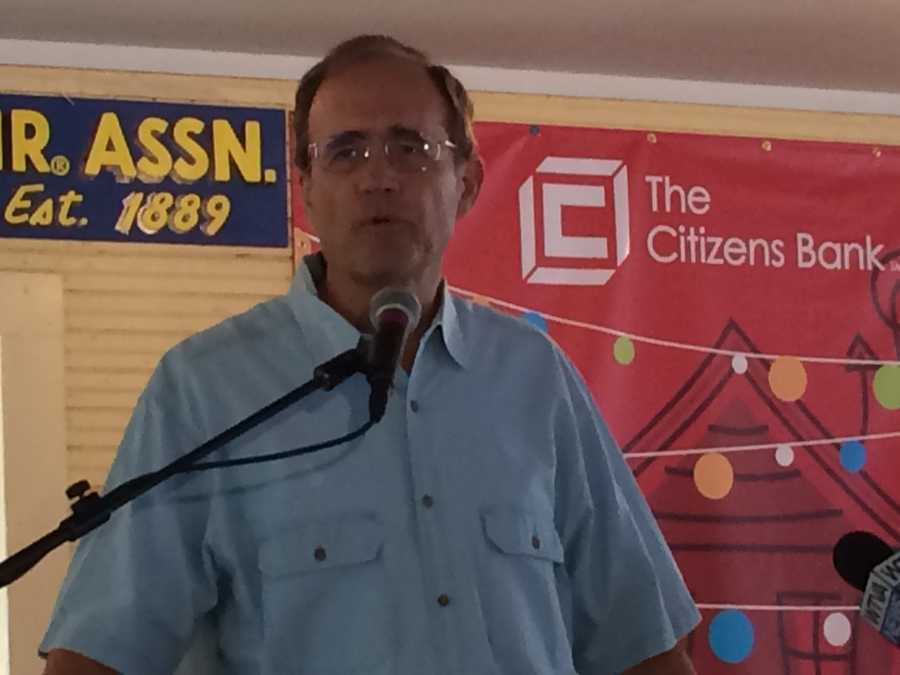 Secretary of State Delbert Hosemann speaks Thursday at the Neshoba County Fair.