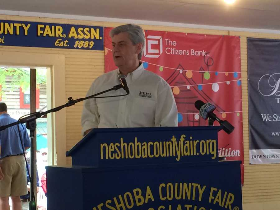 Gov. Phil Bryant speaks Thursday at the Neshoba County Fair.