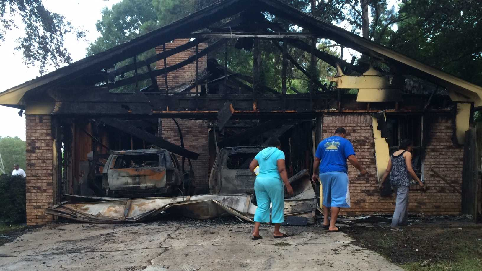 At least five people were inside the home when the fire broke out.