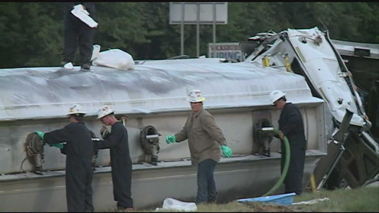 Crews are working to clear-up a mess from a tanker-truck that overturned, carrying diesel on highway-61.