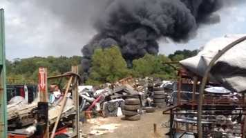 A worker at an auto salvage business was welding and a spark apparently got into a gas tank, which started the fire.