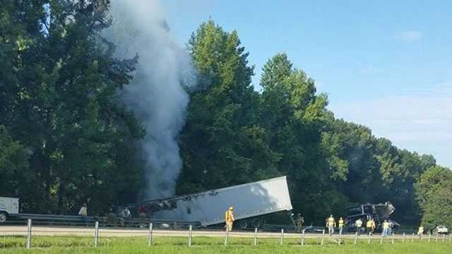 This picture of the truck fire on Interstate 20 in Warren County was shared on Facebook by Phillip McGregor.