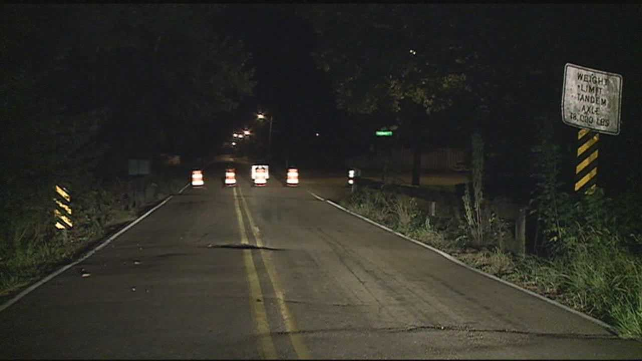 A large hole on a Jackson bridge caused a closure Monday night.