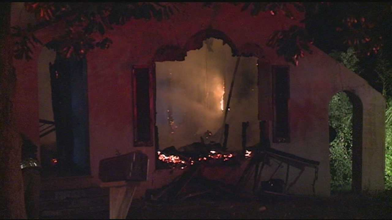 A firefighter was hurt battling an early-morning house fire.