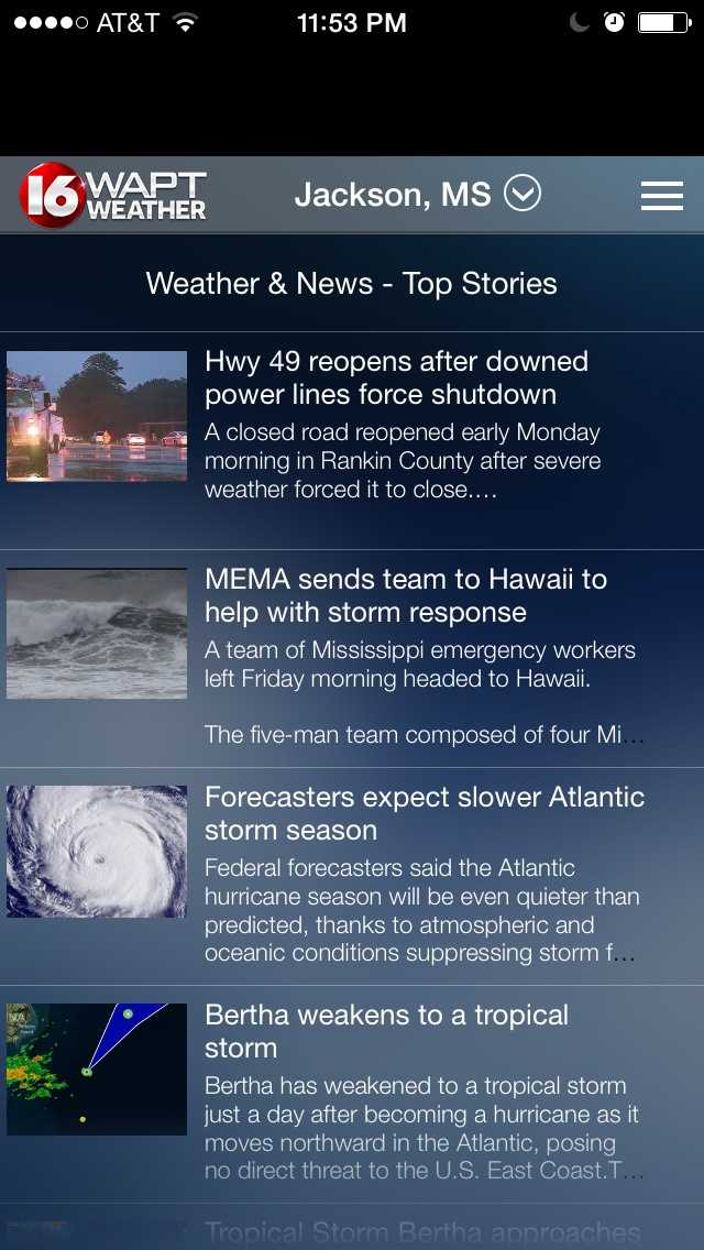The 16 WAPT Weather App is free for iPhones and for Androids.