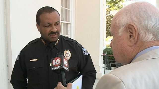 JPD Chief Lee Vance speaks to 16 WAPT's Bert Case on the steps of Jackson's City Hall.