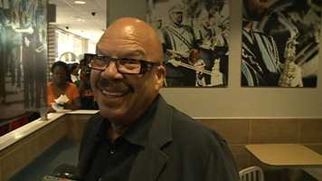 """""""I chose this McDonald's because it's owned by my brother. He pitched (the idea to) me. I said, 'I want to buy lunch at the McDonald's. He said, 'OK. I will buy the lunch if you work the drive-thru,'"""" Tom Joyner said."""