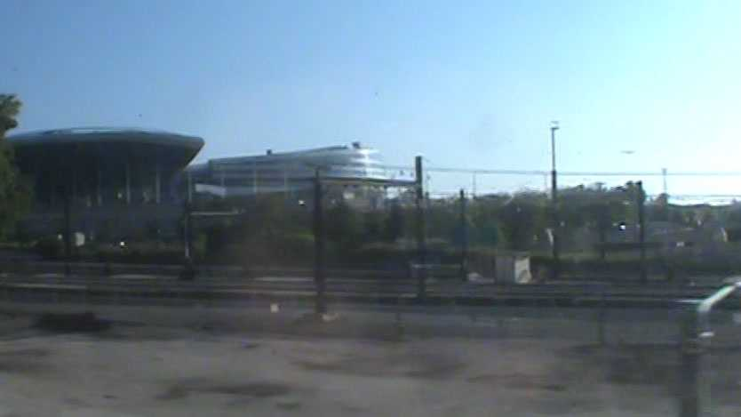 The train arrives in Chicago. This is a view of Soldier Field.