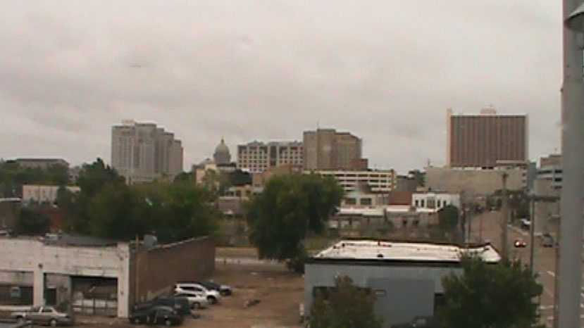 The view of Jackson from the Amtrak train.