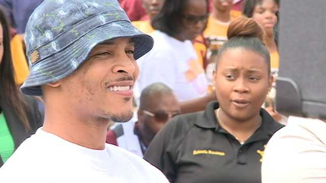 T.I. appears at an assembly outside Northwest Jackson Middle School.