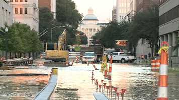 Part of Capitol Street was flooded Wednesday evening when a water line broke.
