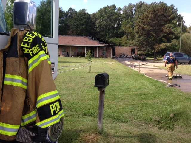 A Rankin County family says a riding lawnmower caught fire in the garage and flames spread into the house.