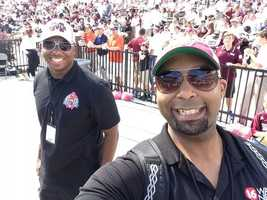 16 WAPT News Director Ben Hart and Marcus Hunter at the MSU game.