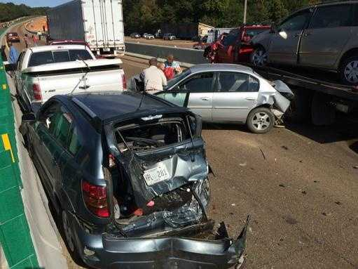 Multiple vehicles were involved in the wreck on the northbound side of Interstate-55 near Byram.