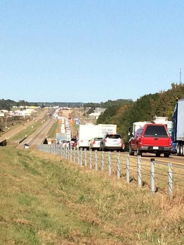 Traffic was backed up for about two miles, MHP said.