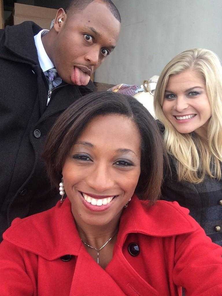 16 WAPT's Marcus Hunter, Brittany Bell and Allie Ware ham it up during the 3rd Annual Turkey Drive 16.