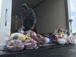 Nearly 200 turkeys had been donated by about 10 a.m.