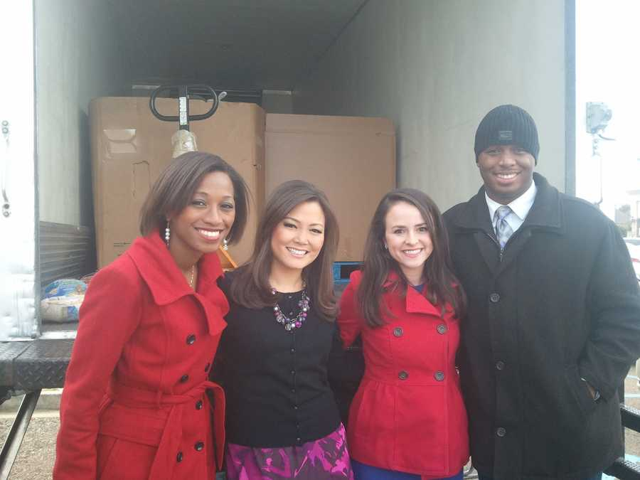16 WAPT's Brittany Bell, Keegan Foxx, Hadas Brown and Marcus Hunter collected turkeys during the 3rd Annual Turkey Drive 16.