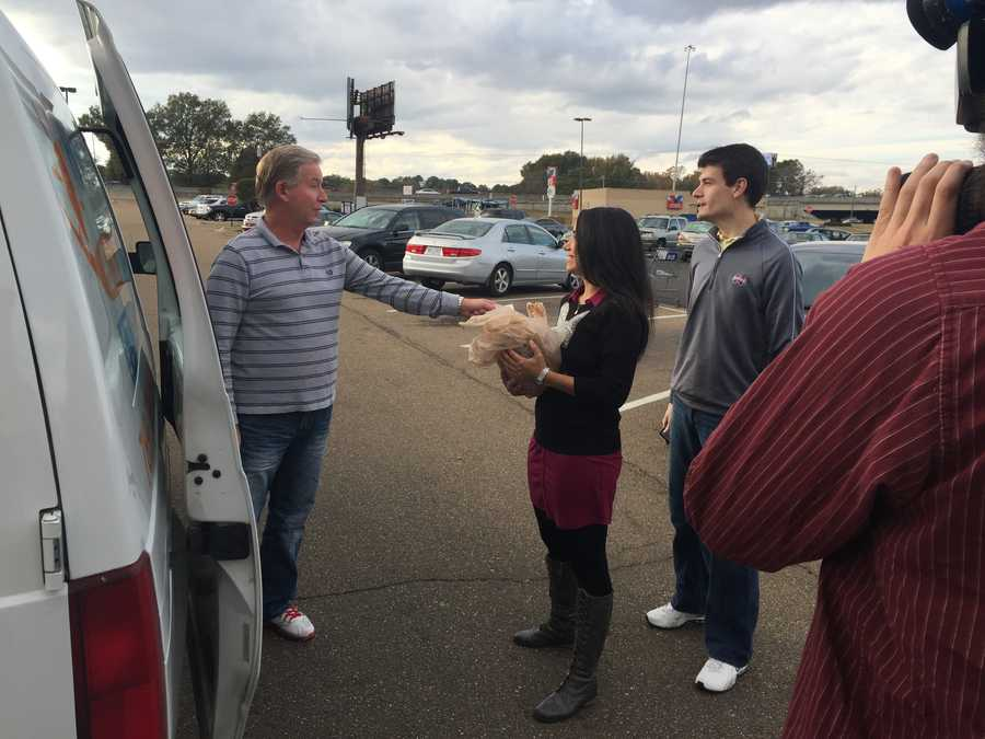 16 WAPT's Jennifer Ortega accepts the 500th turkey donation during the 3rd Annual Turkey Drive 16.