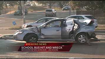 It also collided with a car carrying a woman and baby.