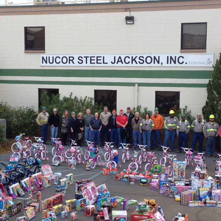 They were collected by employees and were being donated to Toys for Tots.