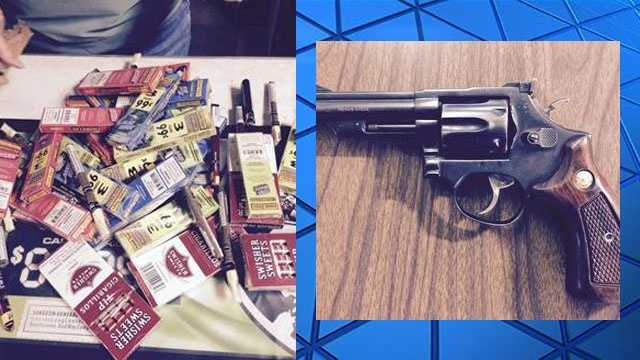 Investigators with the Rankin County Sheriff's Department recover a large quantity of tobacco stolen from a business and a gun.
