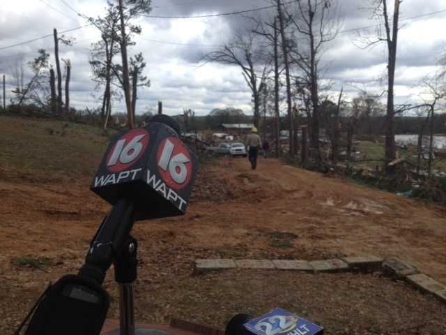 Tornado damage on Mullican Road.