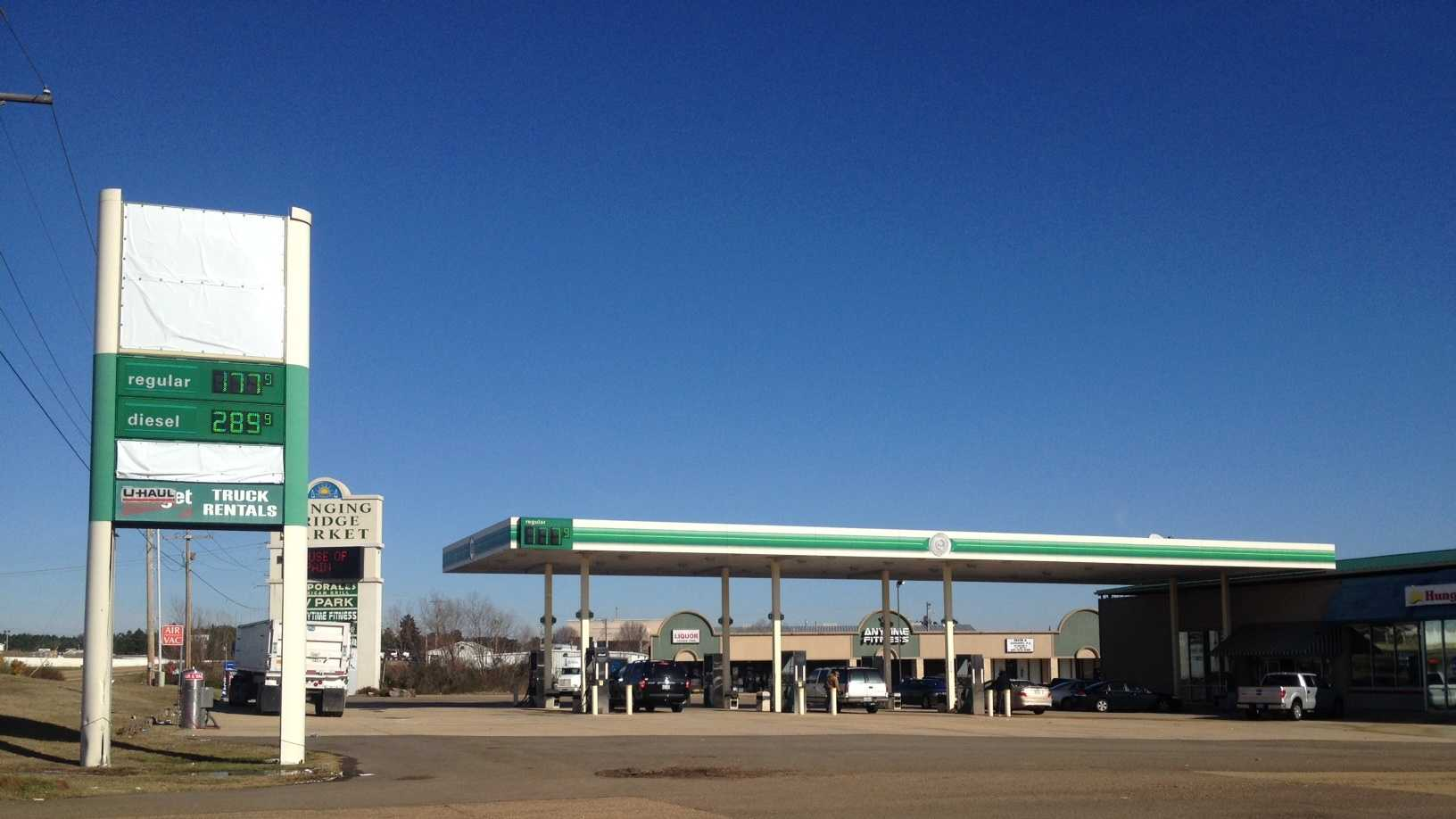A gas station in Byram was selling gas at $1.77 a gallon on Monday.