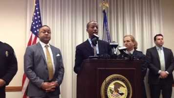 State and federal officials hold a news conference after John Louis Blalack and Robert Henry Rice pleaded guilty Jan. 7 in U.S. District Court in Jackson.