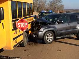 The children who were on the bus were taken to a hospital to be checked out for what authorities said were minor injuries.