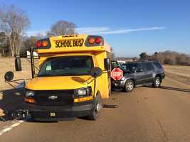 An SUV collided with a school bus Thursday at Highway 49 and Old Highway 49.