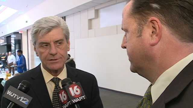 Gov. Phil Bryant talks to 16 WAPT's Scott Simmons.