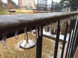 Ice and sleet fell in Vicksburg Wednesday.