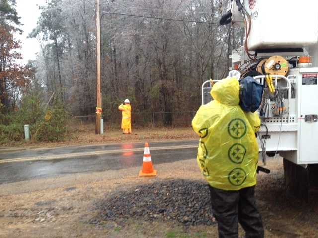 Entergy crews were working Wednesday on George Roads, off Springridge Road.