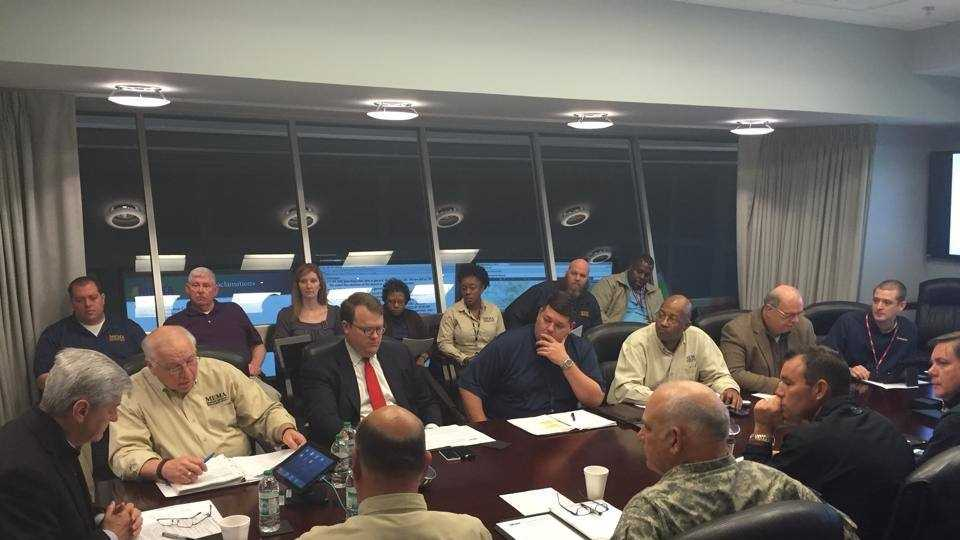 Gov. Phil Bryant meets with emergency officials at MEMA.