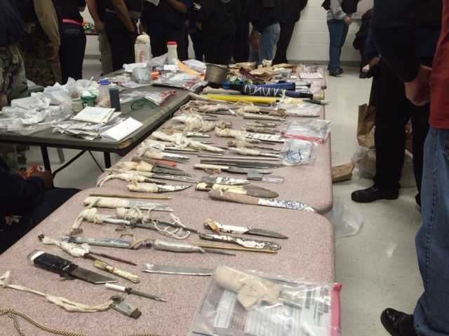 More than 150 shanks of varying sizes, tobacco, cellphones, cellphone chargers and an assortment of other contraband have been found on inmates or in their cells.