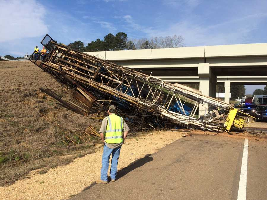 A big rig goes off a bridge from Interstate 55 and crashes onto Highway 27 below.