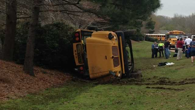 A school bus with students from Germantown Middle School flipped on its side Friday afternoon