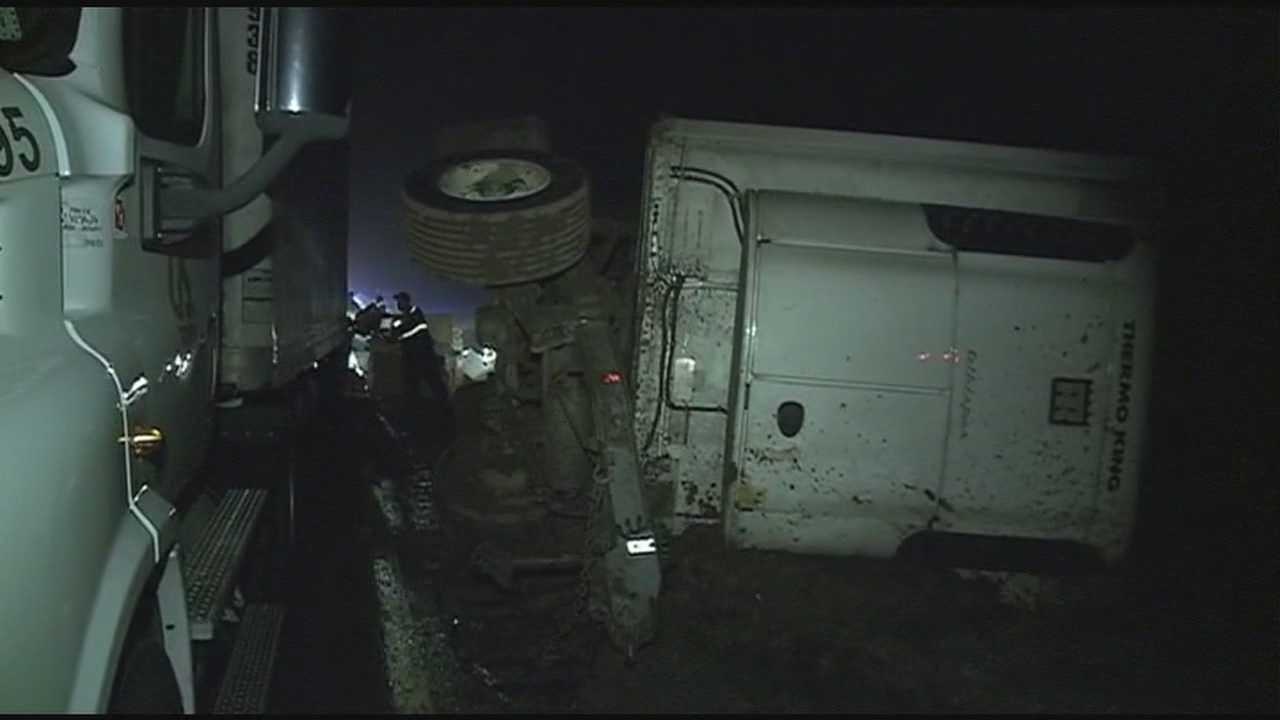 A trailer of an 18-wheeler overturned along Interstate 20 at the Newton Exit early Monday morning.