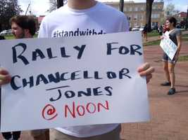 Students at the University of Mississippi hold a rally in Oxford to oppose a controversial decision by the College Board to dismiss the university's chancellor, Dan Jones.