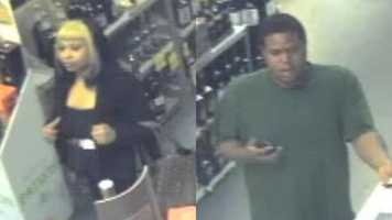 Ridgeland police have released surveillance photos in the hopes that someone can identify two people accused of shoplifting several bottles of liquor.