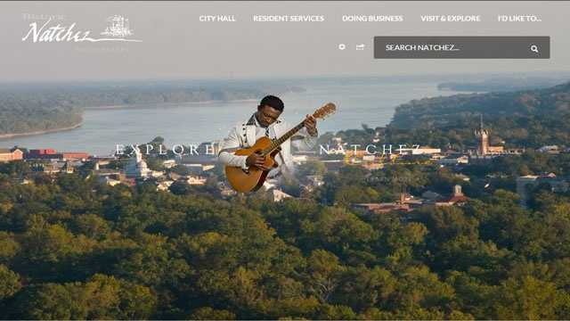 Home page of updated Natchez website