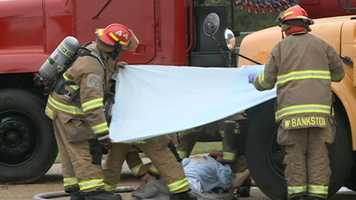 As part of the drill, responders acted as if someone had died.
