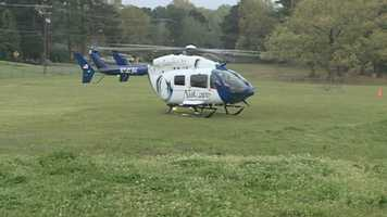 "A helicopter arrived to transport a ""patient."""