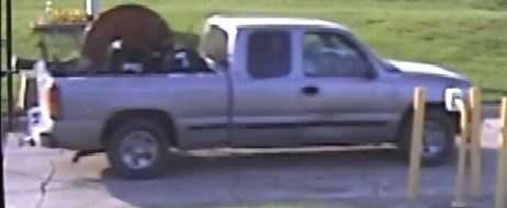 2003 Chevrolet truck, according to police belong to the suspects involved in the burglaries of Purple Creek Storage Facility.