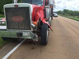 Log truck involved in accident in Copiah County