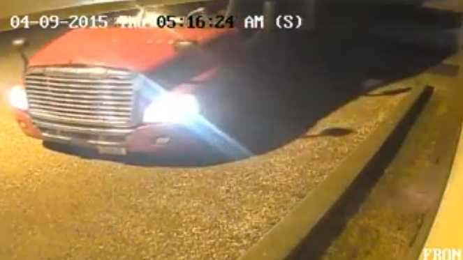 Surveillance video shows an 18-wheeler pulling into the parking lot of B&B Archery in Pearl.