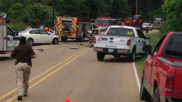 Three people, including a baby, were injured in a crash on Springridge Road.