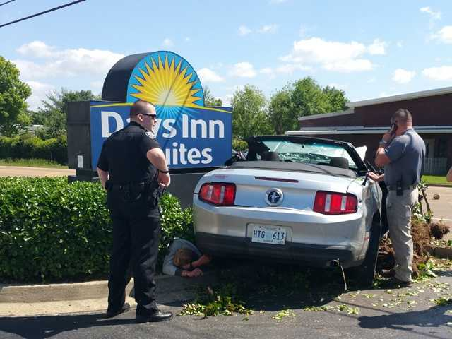 A Ridgeland police officer pulled the Mustang over about 10:30 a.m. Wednesday on County Line Road, but the driver sped off at a high rate of speed.